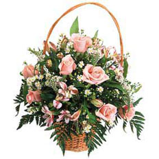 Flower Bouquets, Cream roses basket