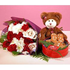 Подарочный набор - Доставить букет роз, печенье, мягкую игрушку  на Украине