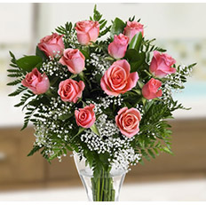 Quiet tenderness bouquet of pink roses to Ukraine | Send pink roses in Ukraine, flower shipping and ordering online