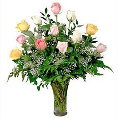 Flower Bouquets, Mixed Pastel Roses