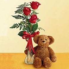 Roses and a Teddy Bear delivery to Ukraine. Holiday delivery in Ukraine: red roses and plush toy