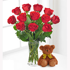 Premium</strong><br/>Roses and Teddy Bear From $75.99