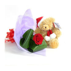 Send New year Plush bear and 1 rose in Ukraine | Toy and flowers delivery in Ukraine