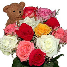 11 of our long stem mixed roses and a teddy bear. Courier delivery service and online floral shop works for you since 1999 year.
