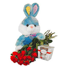 Send plush bunny, red roses and sweetmeats Roshen in Ukraine | Gift set delivery to Ukraine for special occasion