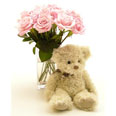 11 Pink Roses and Teddy Bear