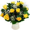 5 Yellow Roses basket